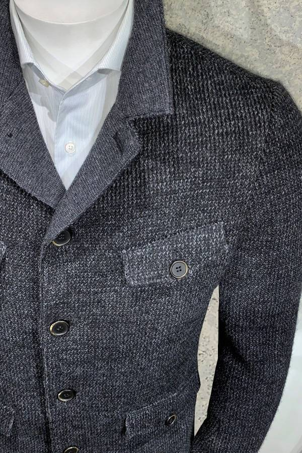 Gimos Modern Knit Safari Jacket with Flap Pockets