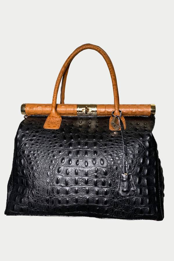 Italian Croc Stamped Doctor Bag