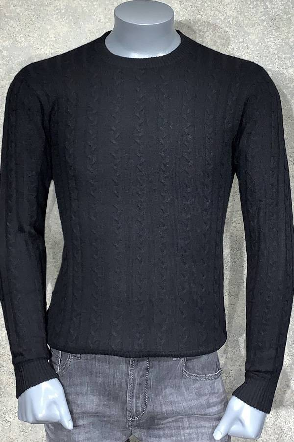 Pure Cashmere Crew Neck Cable Sweater