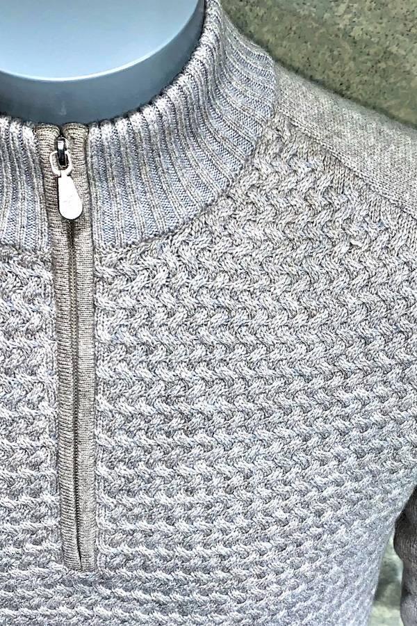 Cashmere Wool Zip Mock Sweater