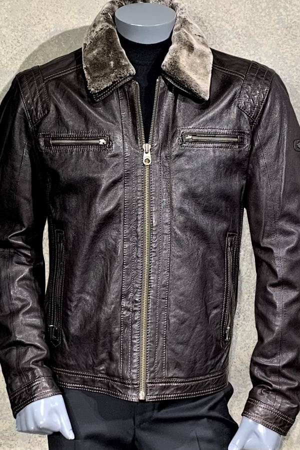 Rustic Leather Blouson with Fur collar