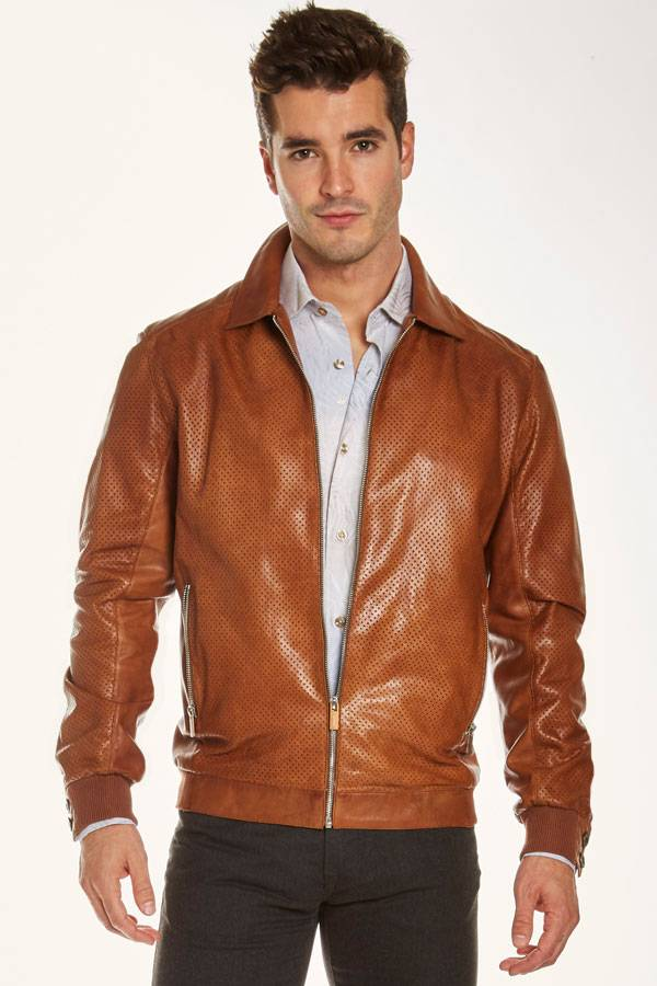 Leather Zip Blouson Perforated