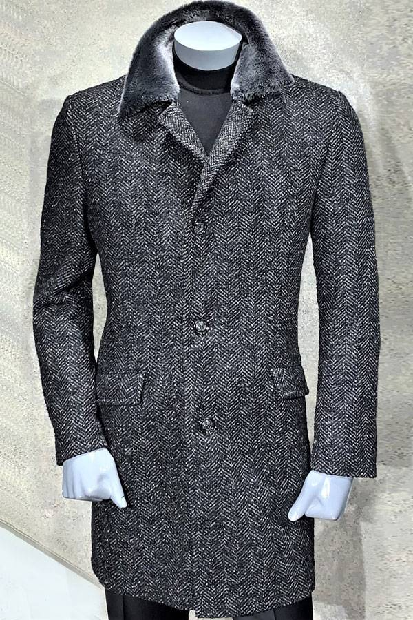 Top Coat Tweed with Shearling Collar