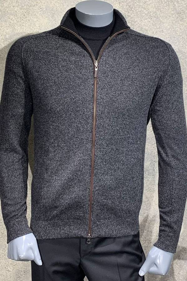100% Cashmere Sweater with Full Suede Zip