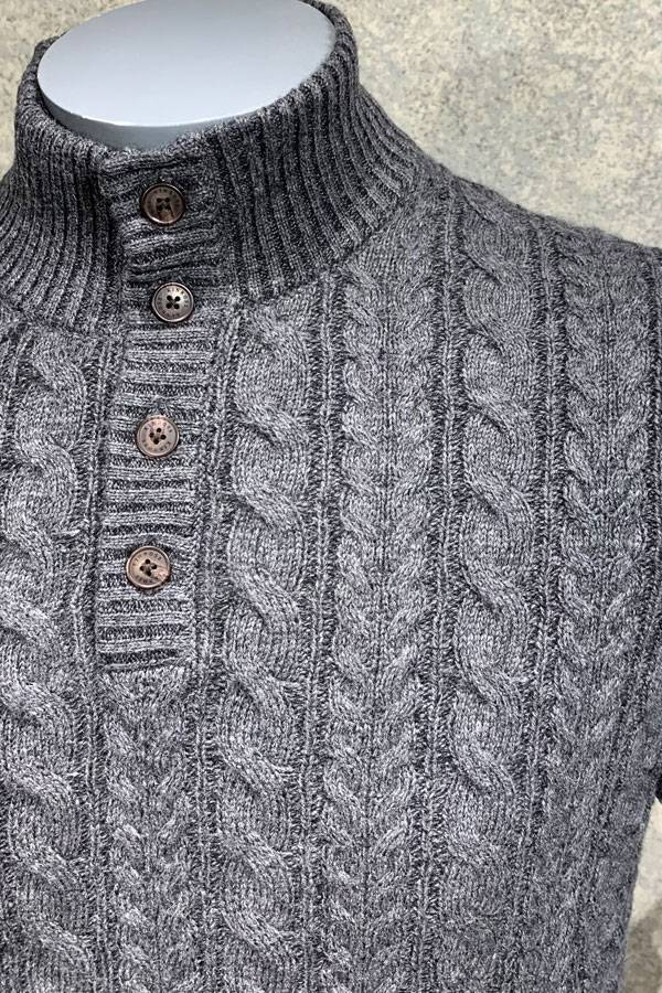 Cashmere 4 Button Mock Cable Sweater