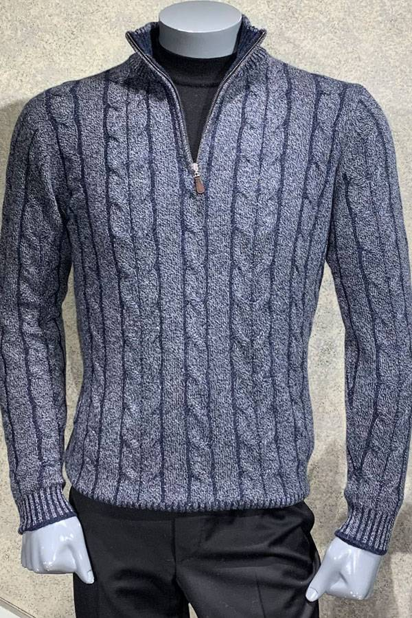 100% Cashmere Plaited Cable Mock Sweater