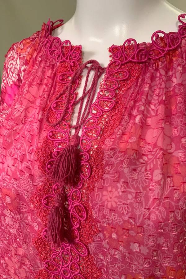 Silk Peasant Blouse in Fuchsia