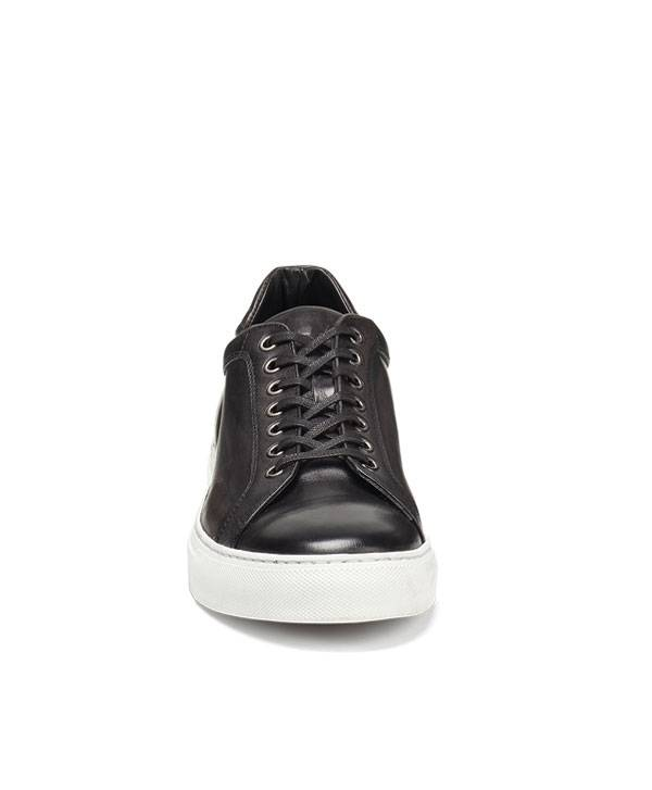 Trask Italian Sneaker in Hand Finished Charcoal Black Color.