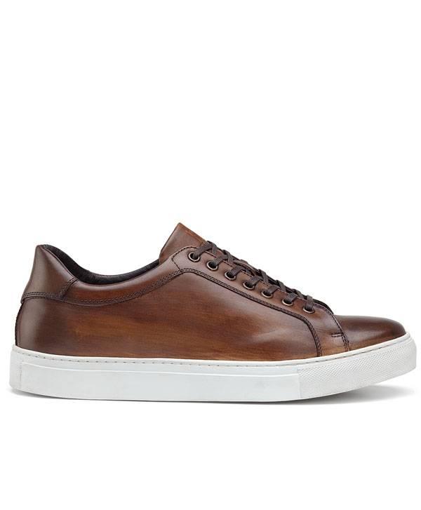 Trask Italian Sneaker in Hand Finished Cognac Color Calfskin.