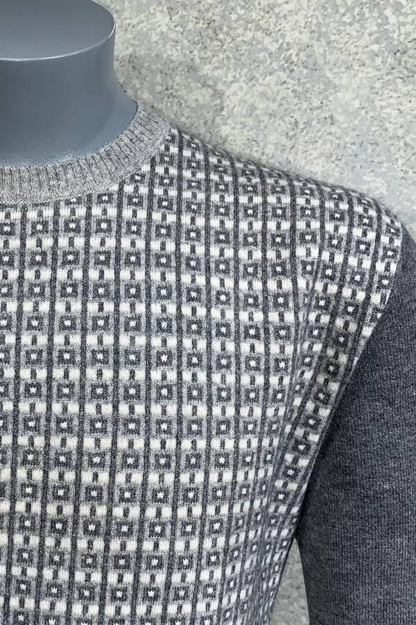 100% Cashmere Crew Check Striped Sweater