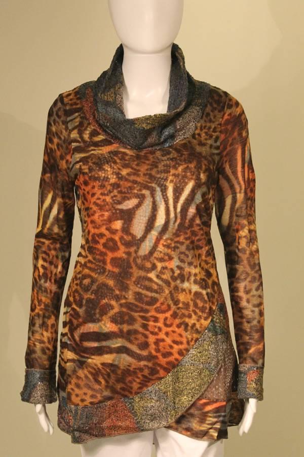 Cowl Neck Animal Knit Tunic