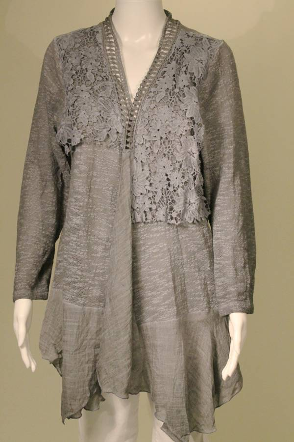 Solid Grey Knit and Lace Cardi