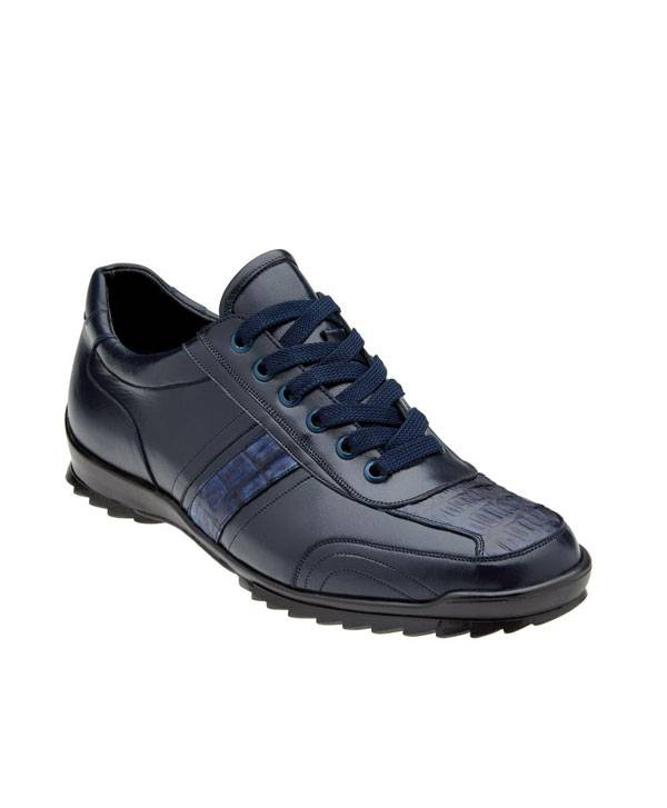 Sport Shoe in Genuine Caiman Crocodilus and Italian Calf