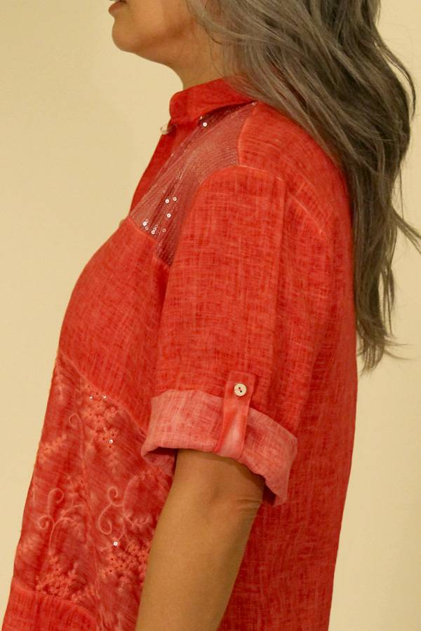 Italian Linen Sport Blouse with Sheer Sequin Detail