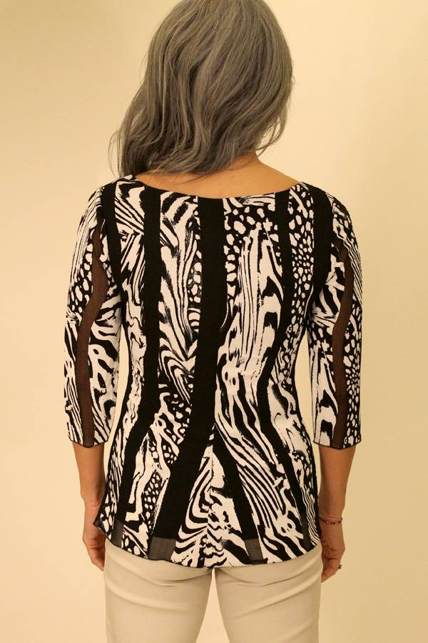 Jacquard Wrap Blouse With Sheer Insets