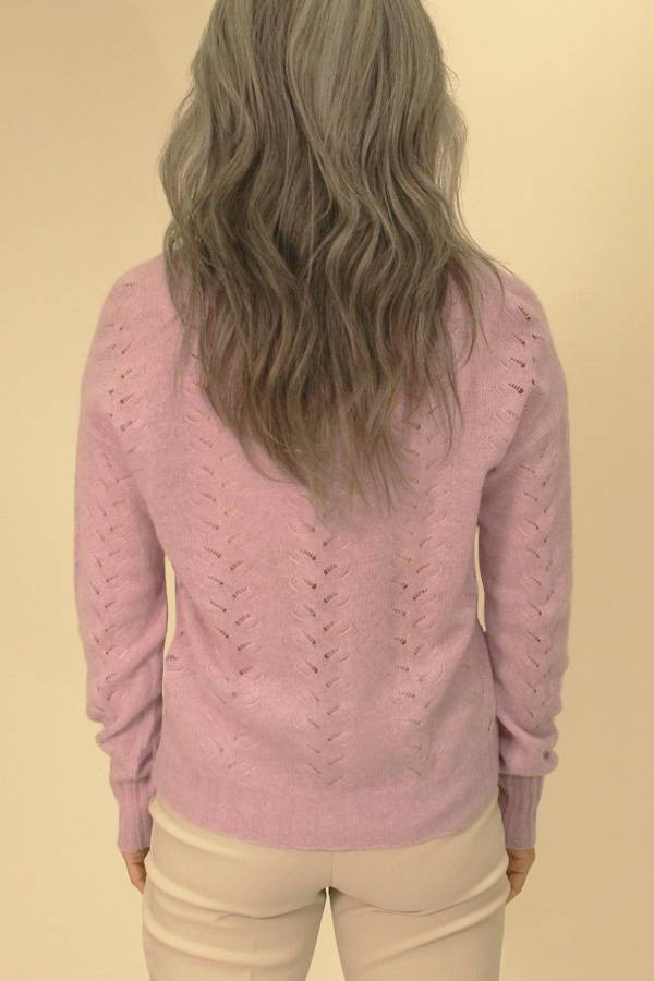 100% Cashmere Pointelle Knit Sweater