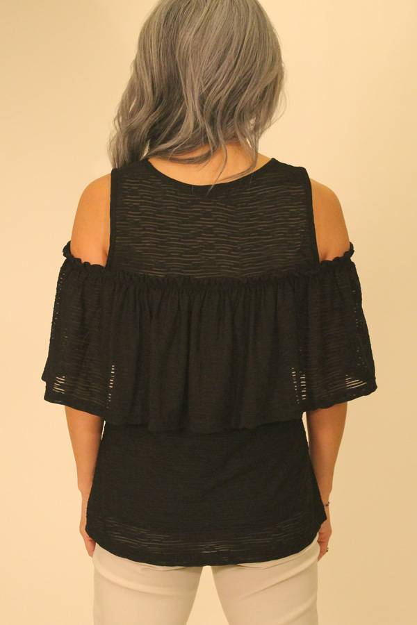Off-shoulder or Sleeveless Ruffle Top