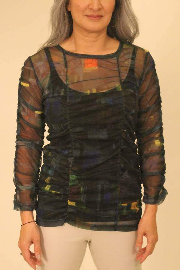 Multi Color Printed Mesh Ruched Top