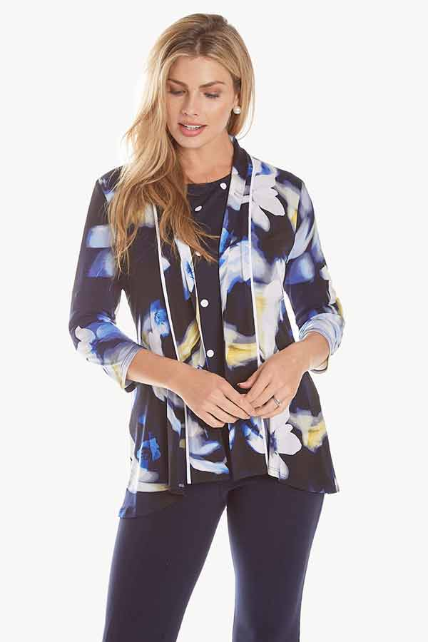 women's mixed print floral jersey cardigan front