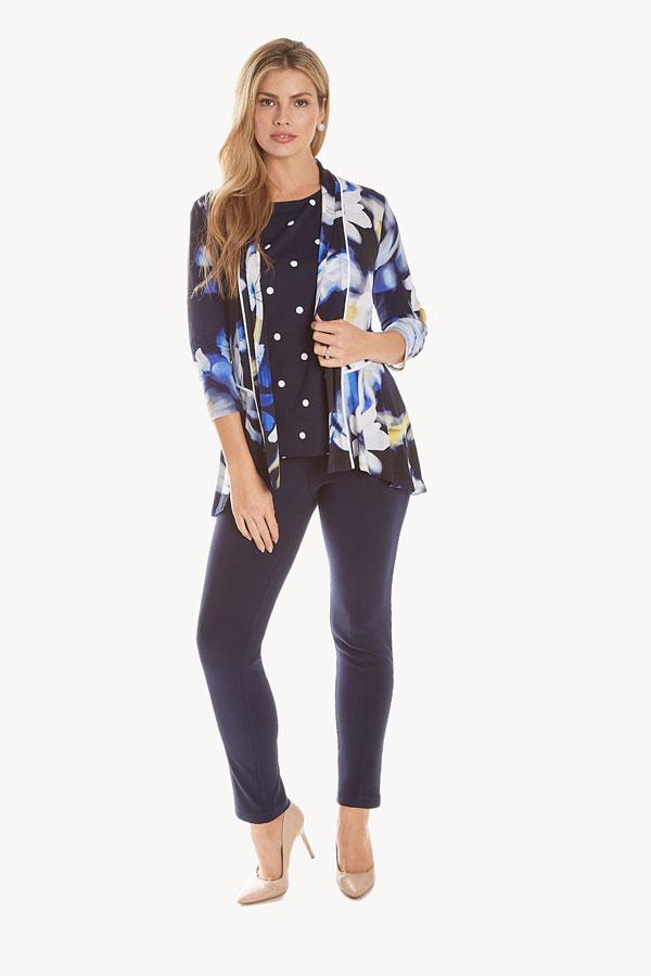 Print Floral Jersey Cardigan