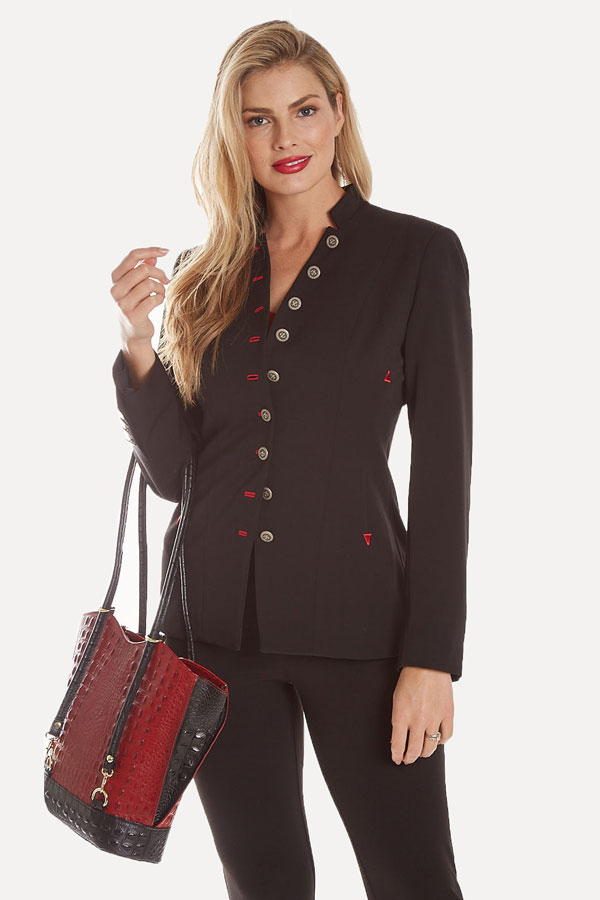 women's hamilton 9-button jacket styled with red leather purse