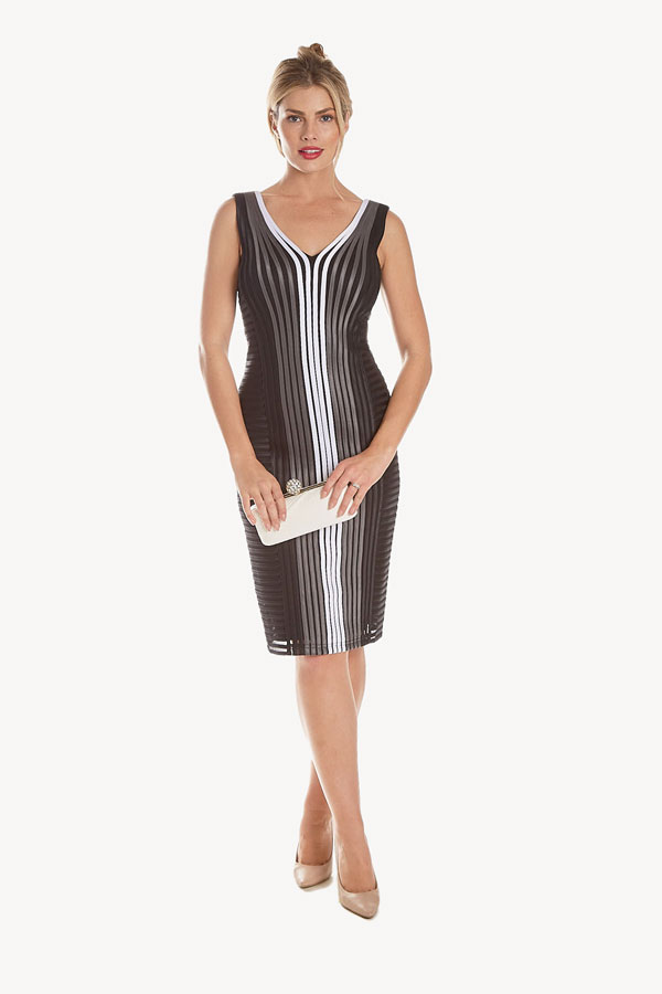 contrast vertical ribbon cocktail dress