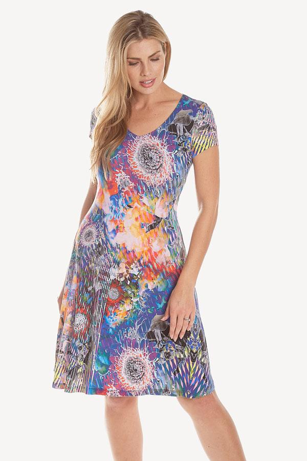 women's short sleeved multi color print dress