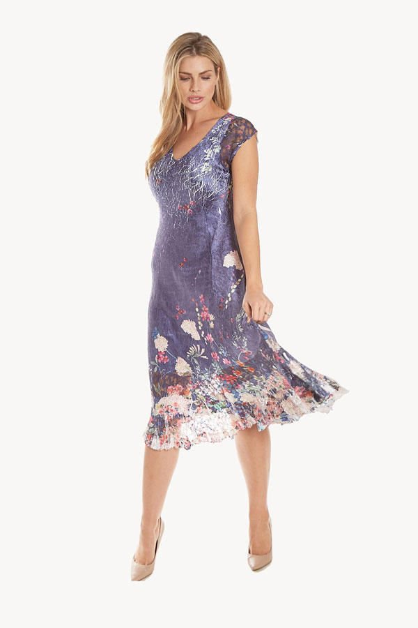 Floral Cap Sleeve Lace Plisse Dress