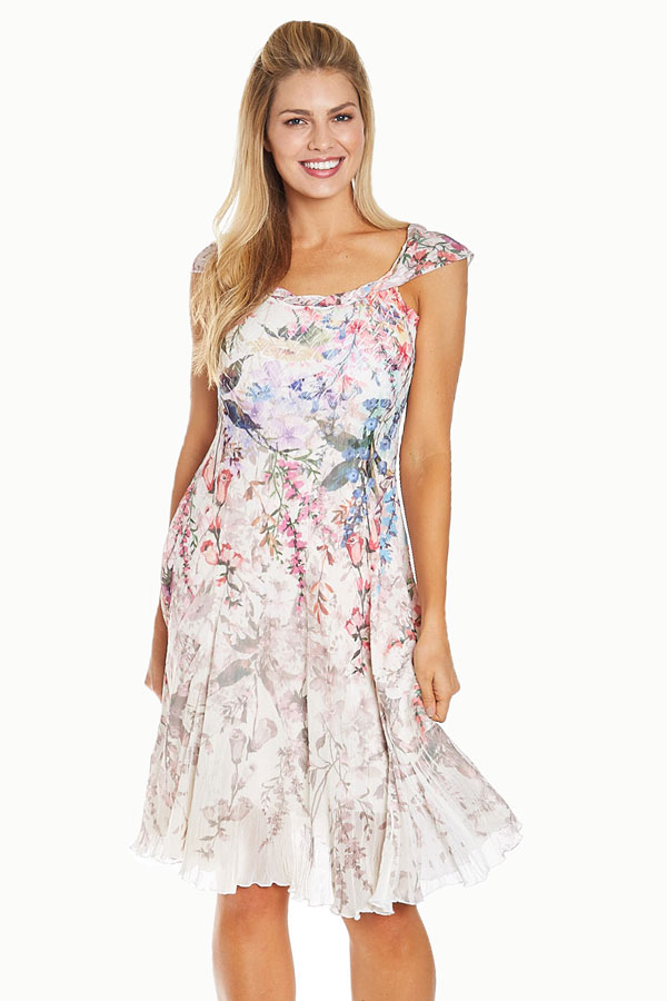 Twist Neck Ivory Floral Dress