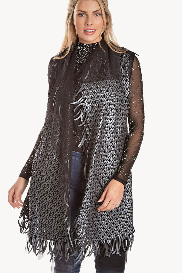 Woven Leather Vest