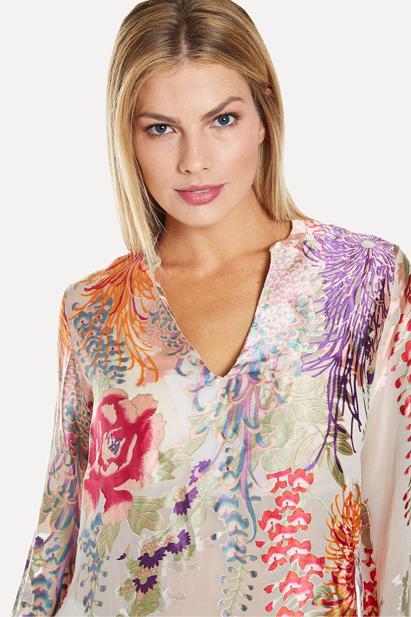 women's beaded neck viscose floral burnout blouse closeup