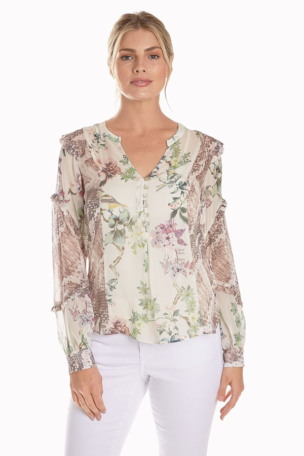 women's silk floral ruffle top front