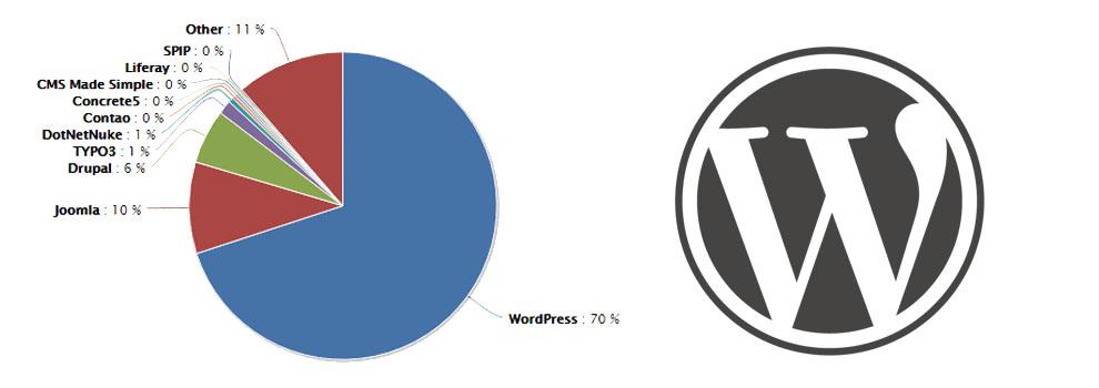 imagen de la cuota de mercado del CMS de WordPress a nivel mundial