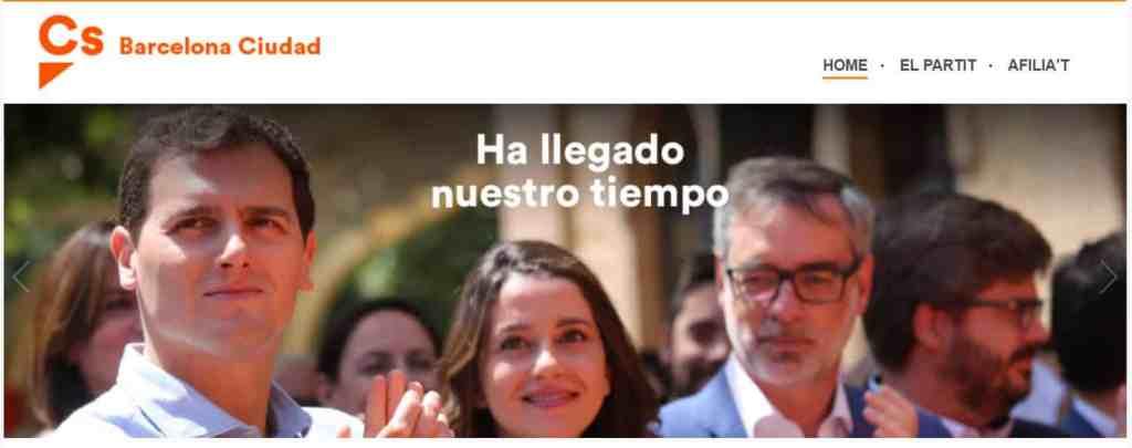 Pantallazo página web de Ciutadans para la ciudad de Barcelona