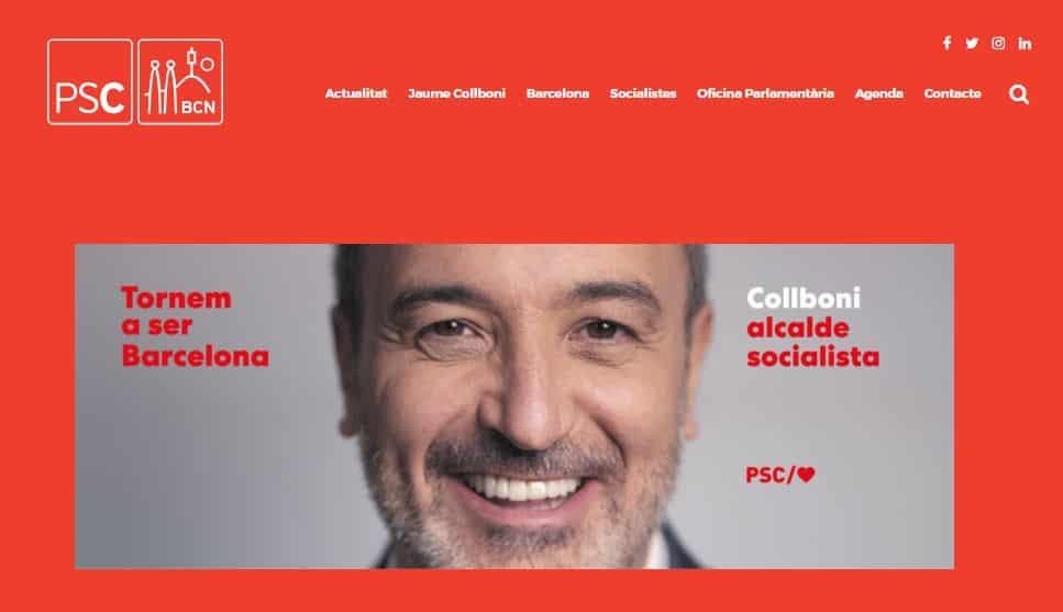 Pantallazo página web Socialistes Barcelona
