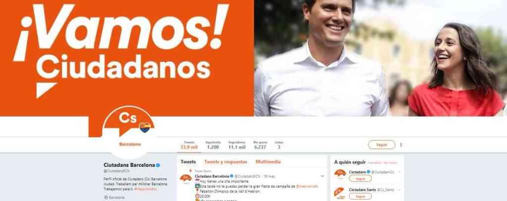 Pantallazo cuenta de Twitter de Ciutadans Barcelona
