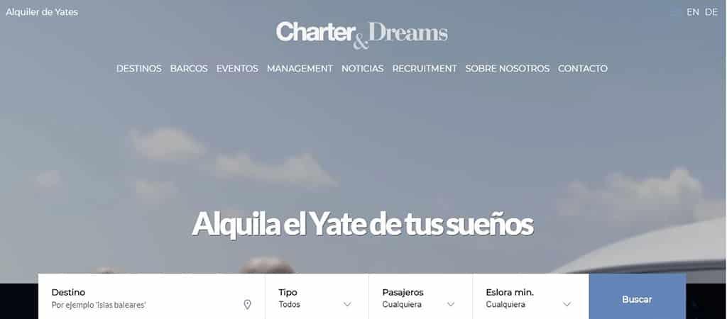 Pantallazo web de Charter & Dreams