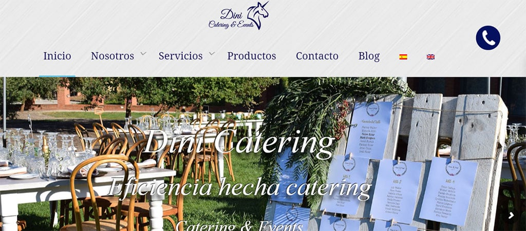 Captura de pantalla de la web de Dini Catering