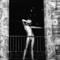Nude mannequin on the balcony?