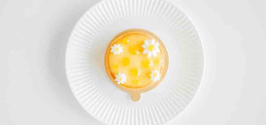 an overhead image a lemon tart