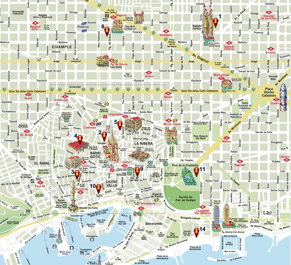 tourist map of barcelona city view images