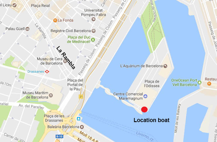 Barcelona sailing from port Vell. Location boat 70 passengers