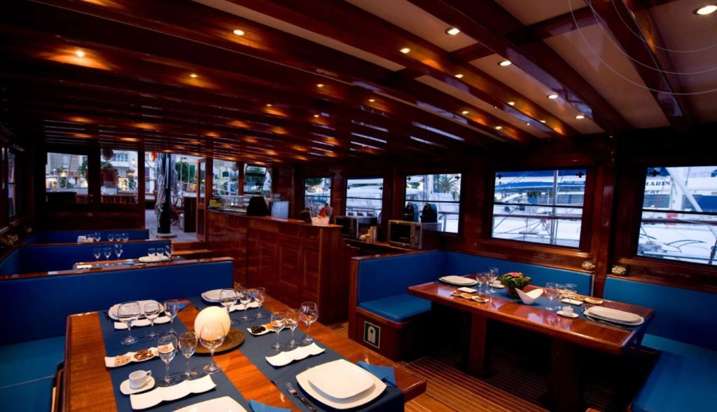 Dine and wine on our Schooner in front of the Barcelona coastline.