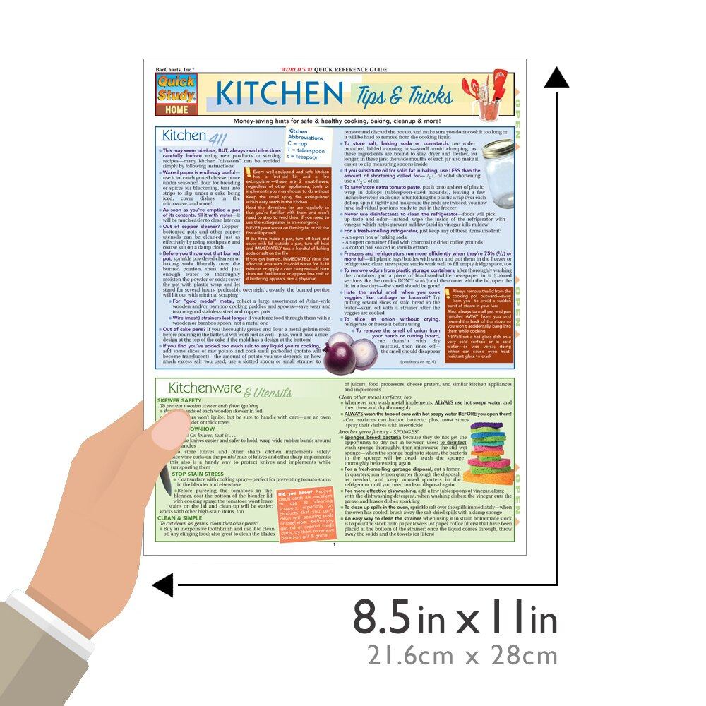 Quick Study QuickStudy Kitchen Tips & Tricks Laminated Reference Guide BarCharts Publishing Home Lifestyle Outline Guide Size