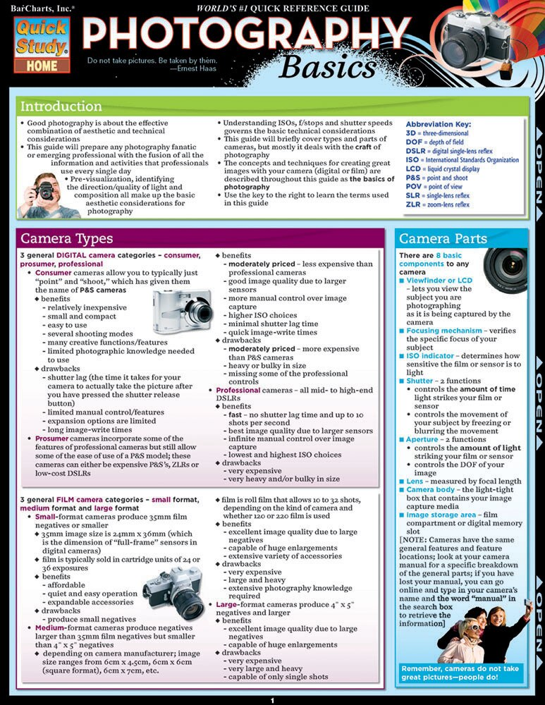 Quick Study QuickStudy Photography Basics Laminated Study Guide BarCharts Publishing Reference Guide Cover Image