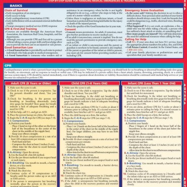 QuickStudy Quick Study CPR Lifesaving Laminated Study Guide BarCharts Publishing Inc Reference Guide Cover Image