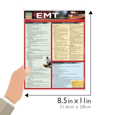 Quick Study QuickStudy EMT - Emergency Medical Technician Laminated Study Guide BarCharts Publishing Size