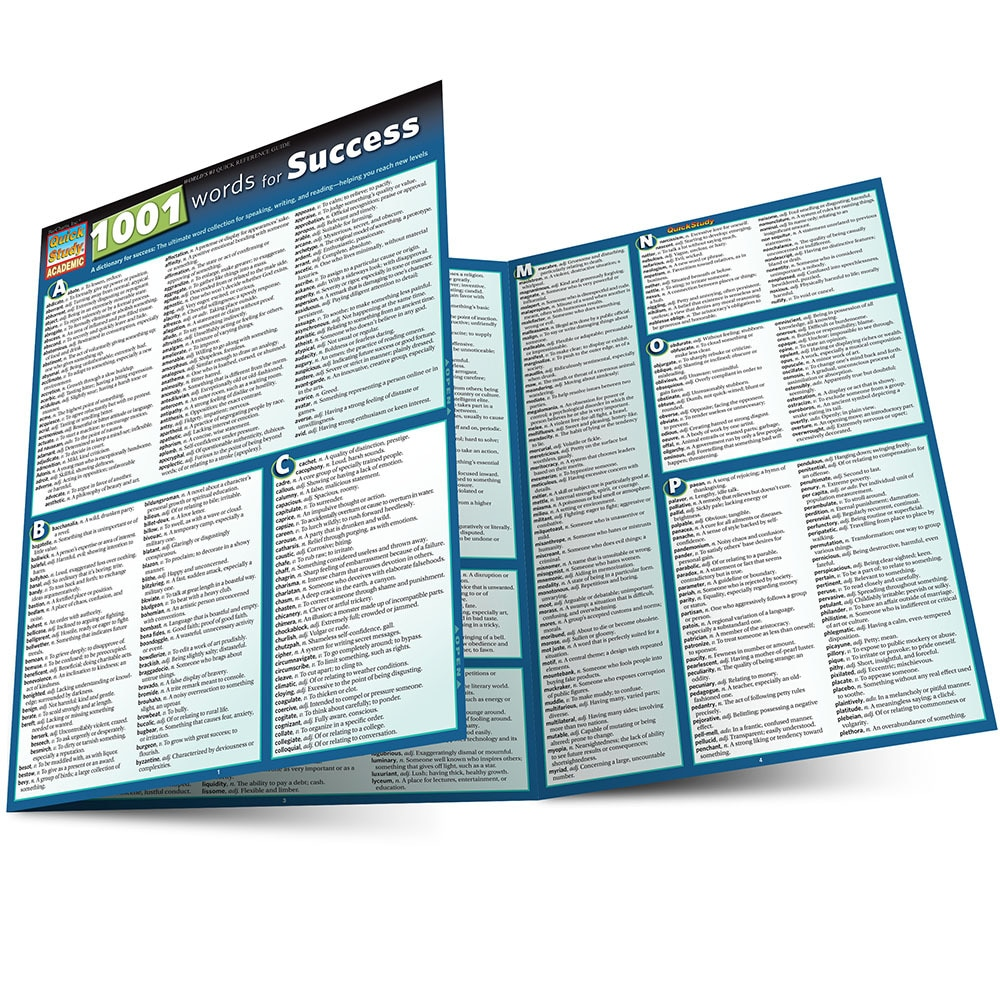 Quick Study QuickStudy 1001 Words For Success Laminated Reference Guide BarCharts Publishing Guide Main Image
