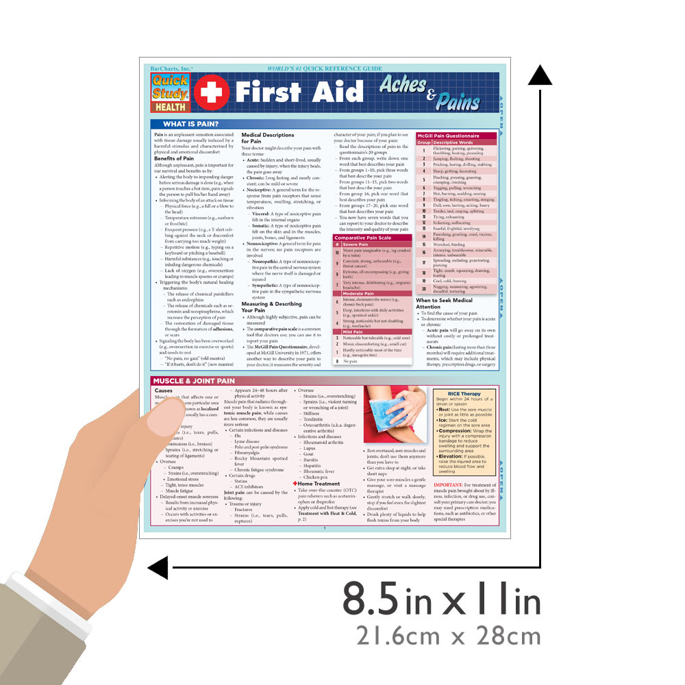 Quick Study QuickStudy First Aid Aches & Pains Laminated Study Guide BarCharts Publishing Inc Health Guide Size