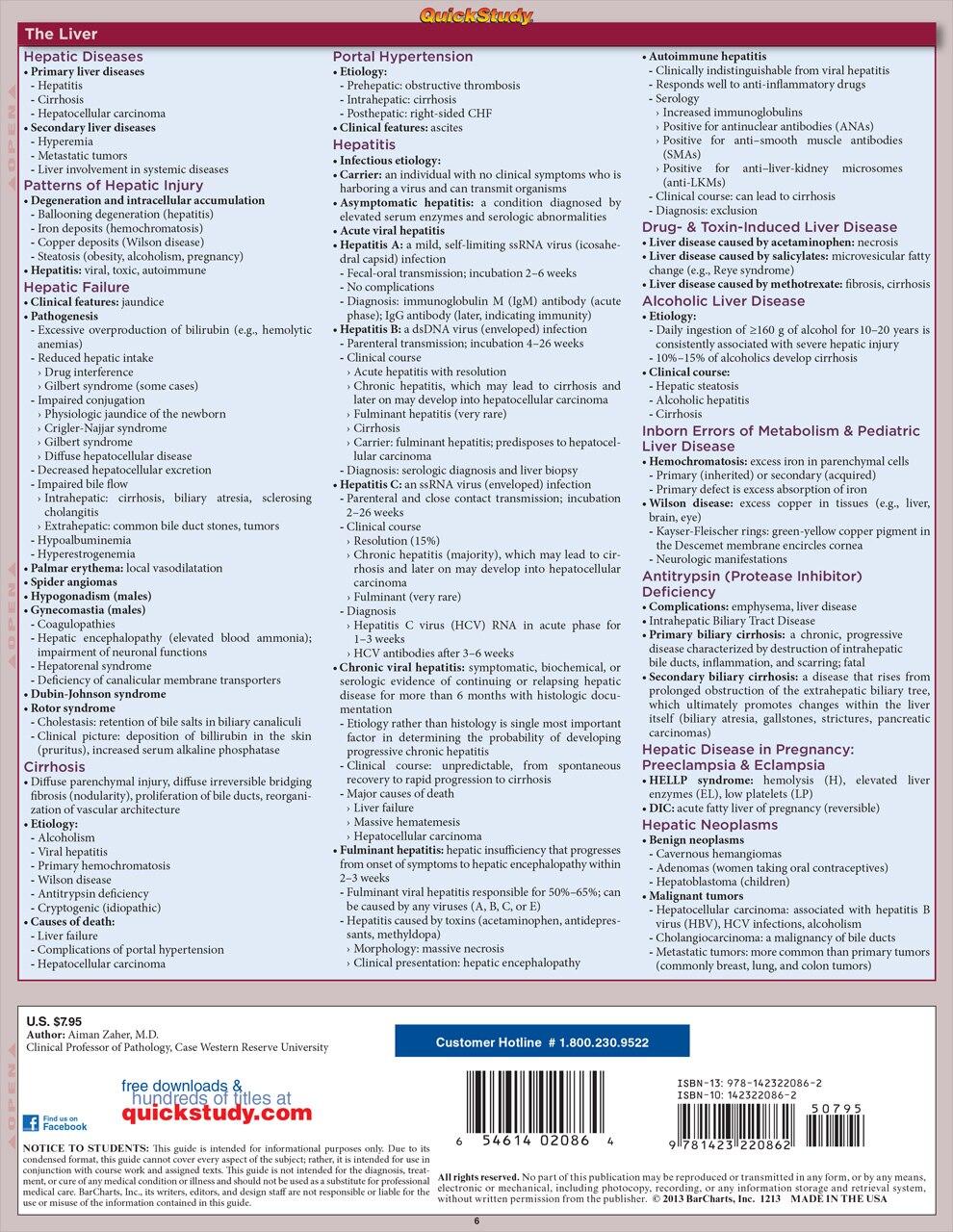 Quick Study QuickStudy Pathology Systemic Part 1 Laminated Study Guide BarCharts Publishing Medical Back Image